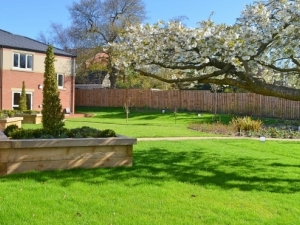 The beautifully landscaped gardens at Augustus Court, Leeds.