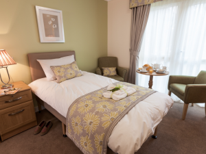 One of 60 bedrooms at The Oakes Care Centre, complete with en-suite bathroom and walk-in shower
